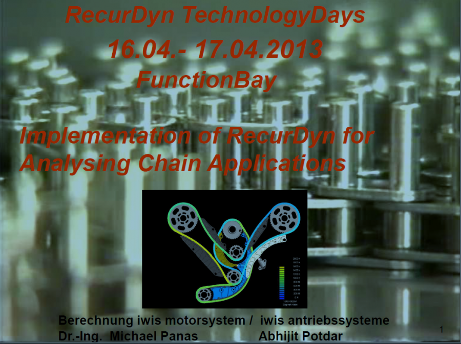 Implementation of RecurDyn for Analysing Chain Applications